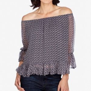 Lucky Brand Printed Off the Shoulder Ruffle Top XS